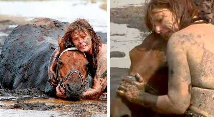 Lady holds on to her horse for 3 hours after 900 pound animal gets stuck in the mud